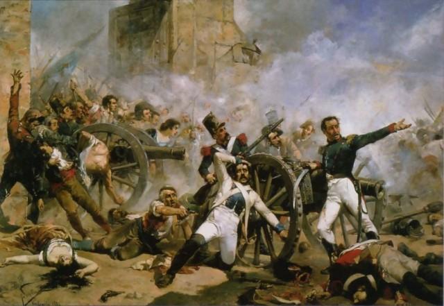 Försvaret av artilleribarackerna vid Monteleón, av Joaquín Sorolla (1863-1923). Källa: Wikimedia Commons
